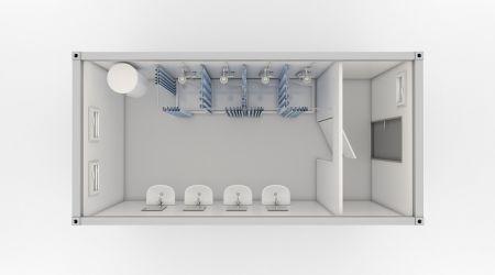 Container sanitar cu dusuri